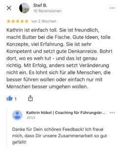 Führungskräfte-coaching, Coaching für Führungskräfte, Kathrin Nökel, Kundenstimme | Feedback 1